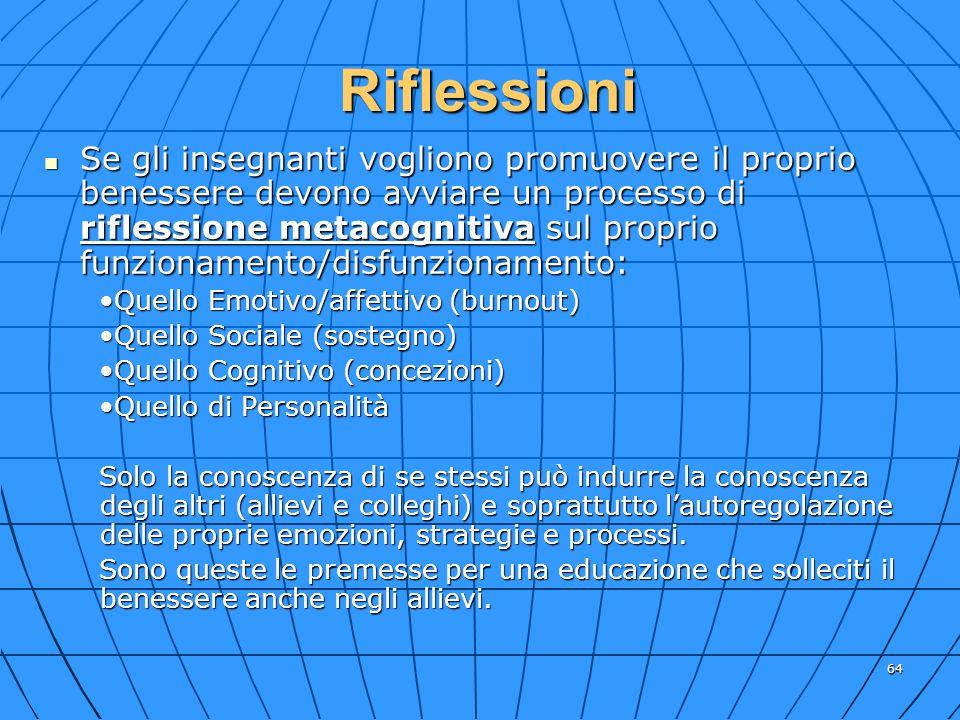 64 Se gli insegnanti vogliono promuovere il proprio benessere devono avviare un processo di riflessione metacognitiva sul proprio funzionamento/disfun