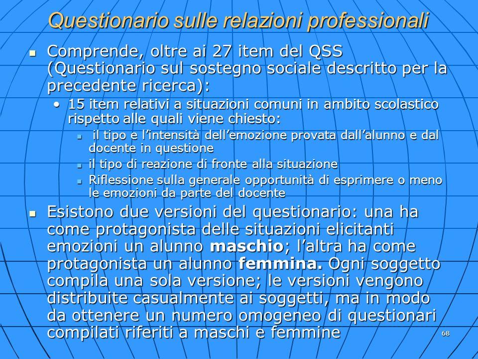 68 Questionario sulle relazioni professionali Comprende, oltre ai 27 item del QSS (Questionario sul sostegno sociale descritto per la precedente ricer
