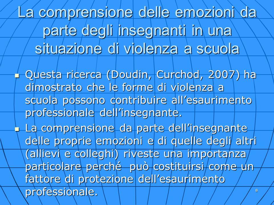 8 La comprensione delle emozioni da parte degli insegnanti in una situazione di violenza a scuola Questa ricerca (Doudin, Curchod, 2007) ha dimostrato