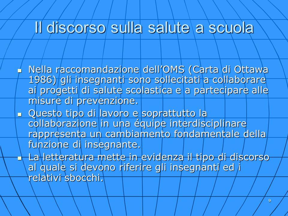 9 Il discorso sulla salute a scuola Nella raccomandazione dellOMS (Carta di Ottawa 1986) gli insegnanti sono sollecitati a collaborare ai progetti di