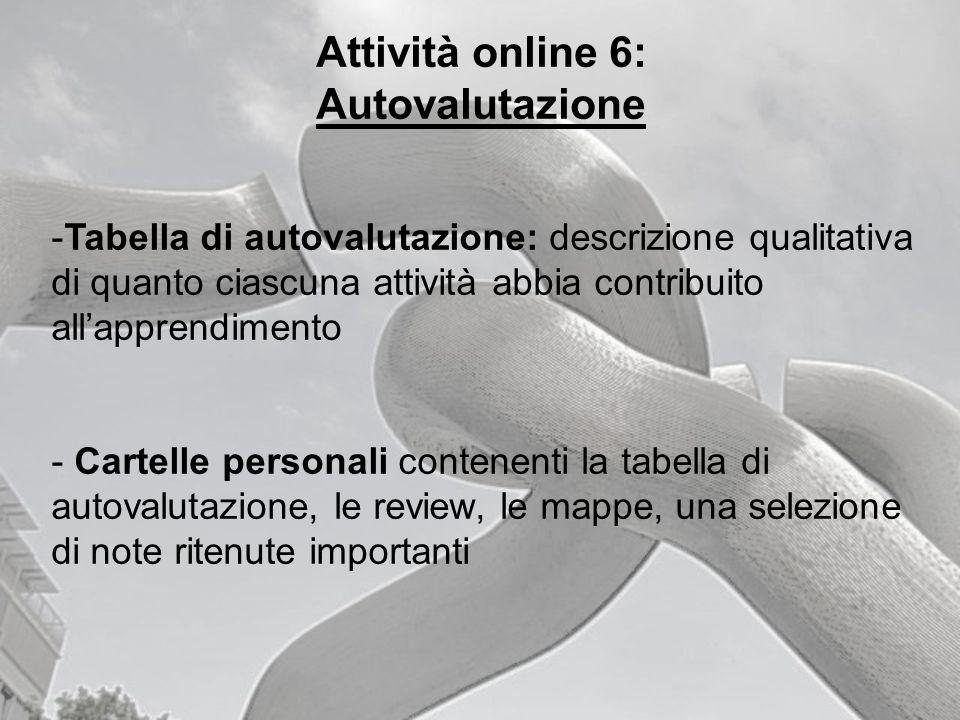 Attività online 6: Autovalutazione -Tabella di autovalutazione: descrizione qualitativa di quanto ciascuna attività abbia contribuito allapprendimento