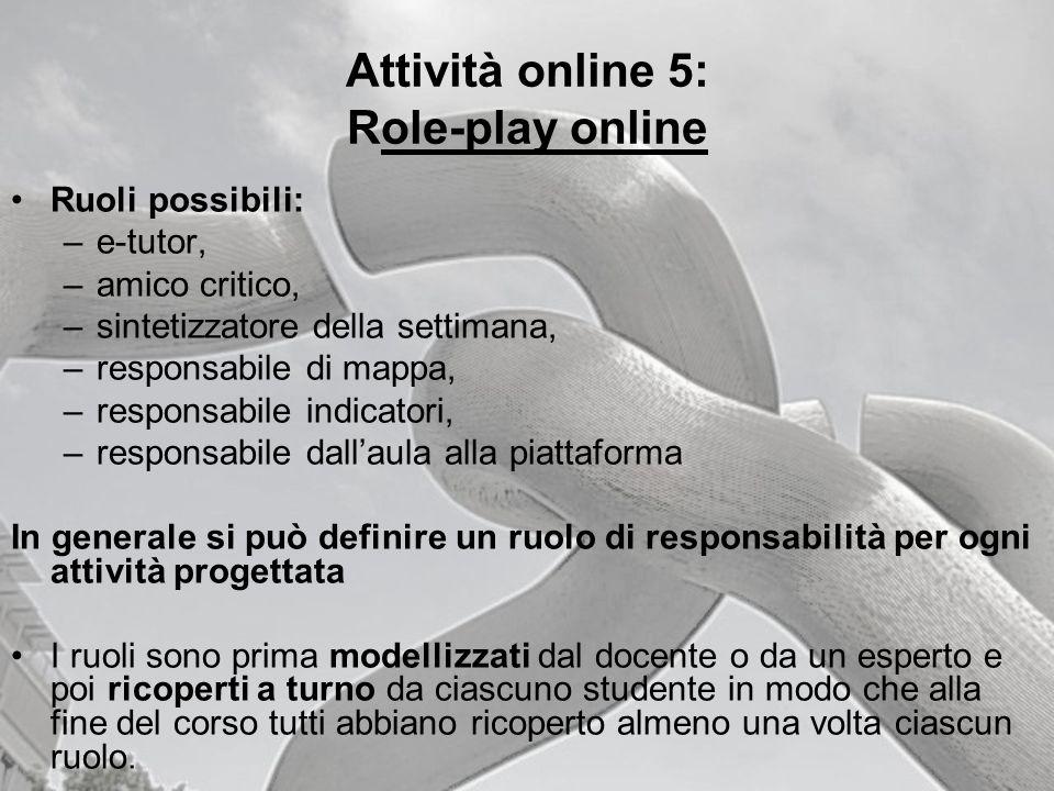 Attività online 5: Role-play online Ruoli possibili: –e-tutor, –amico critico, –sintetizzatore della settimana, –responsabile di mappa, –responsabile