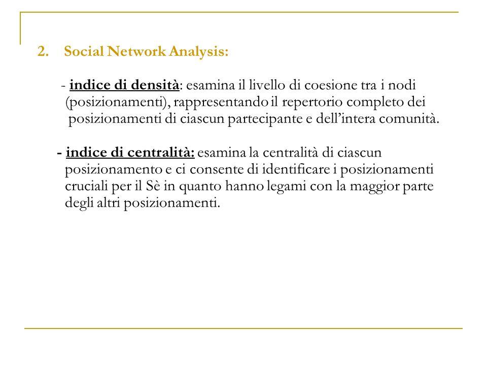 2.Social Network Analysis: - indice di densità: esamina il livello di coesione tra i nodi (posizionamenti), rappresentando il repertorio completo dei
