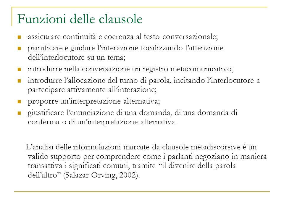 Funzioni delle clausole assicurare continuità e coerenza al testo conversazionale; pianificare e guidare linterazione focalizzando lattenzione dellint