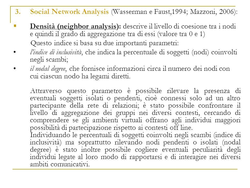 3. Social Network Analysis (Wasserman e Faust,1994; Mazzoni, 2006): Densità (neighbor analysis): descrive il livello di coesione tra i nodi e quindi i