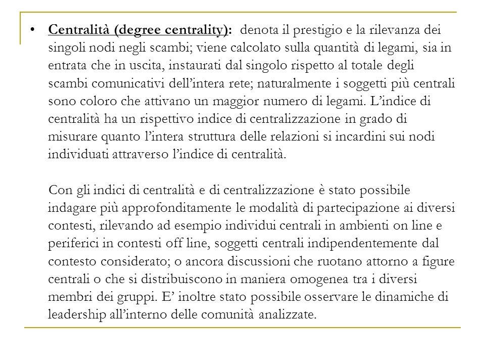 Centralità (degree centrality): denota il prestigio e la rilevanza dei singoli nodi negli scambi; viene calcolato sulla quantità di legami, sia in ent