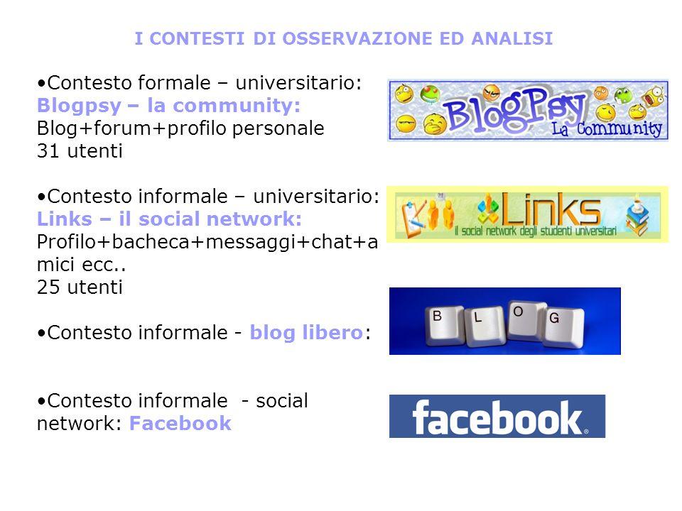 I CONTESTI DI OSSERVAZIONE ED ANALISI Contesto formale – universitario: Blogpsy – la community: Blog+forum+profilo personale 31 utenti Contesto inform