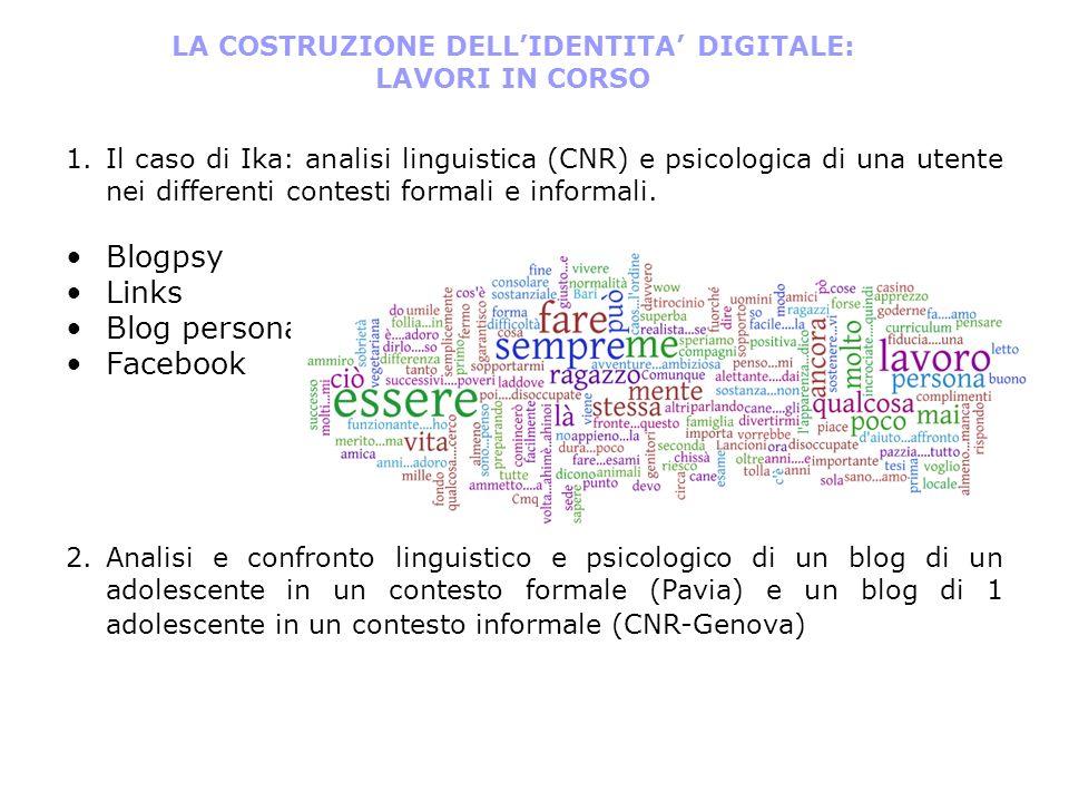 1. 1.Il caso di Ika: analisi linguistica (CNR) e psicologica di una utente nei differenti contesti formali e informali. Blogpsy Links Blog personale F