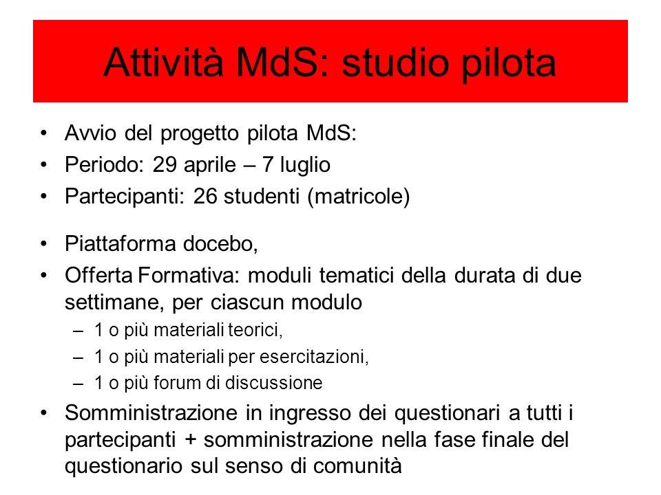 Attività MdS: studio pilota Avvio del progetto pilota MdS: Periodo: 29 aprile – 7 luglio Partecipanti: 26 studenti (matricole) Piattaforma docebo, Off