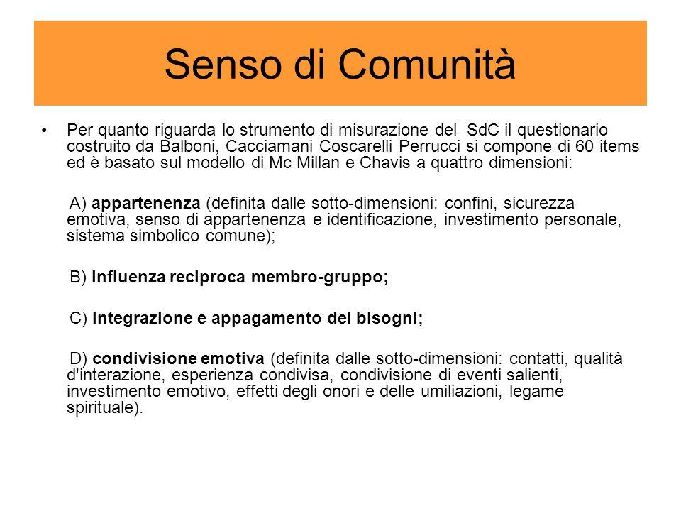 Senso di Comunità Per quanto riguarda lo strumento di misurazione del SdC il questionario costruito da Balboni, Cacciamani Coscarelli Perrucci si comp