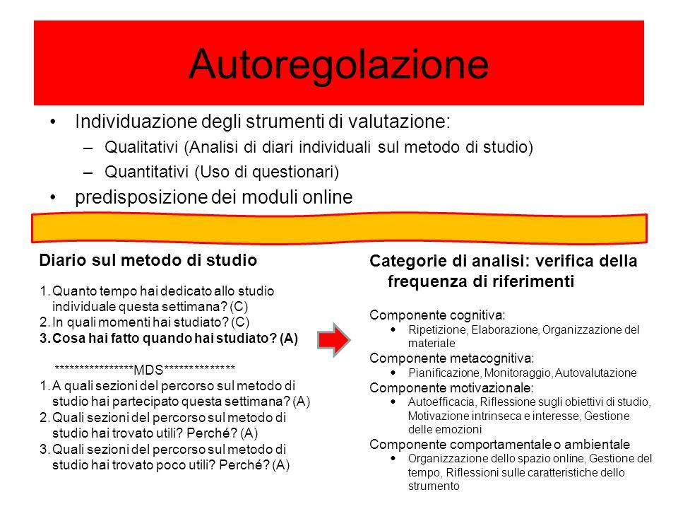 Autoregolazione Individuazione degli strumenti di valutazione: –Qualitativi (Analisi di diari individuali sul metodo di studio) –Quantitativi (Uso di