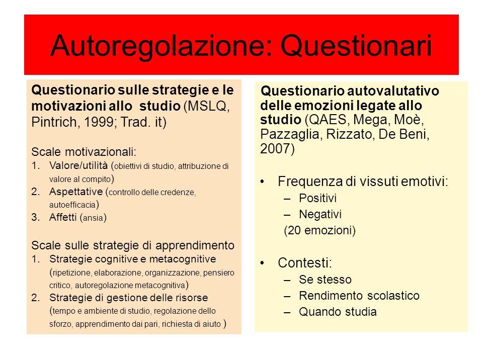Autoregolazione: Questionari Questionario autovalutativo delle emozioni legate allo studio (QAES, Mega, Moè, Pazzaglia, Rizzato, De Beni, 2007) Freque