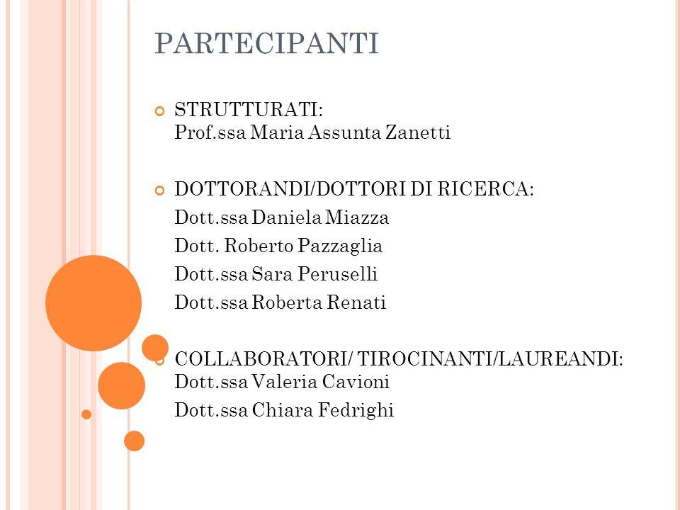 PARTECIPANTI STRUTTURATI: Prof.ssa Maria Assunta Zanetti DOTTORANDI/DOTTORI DI RICERCA: Dott.ssa Daniela Miazza Dott. Roberto Pazzaglia Dott.ssa Sara