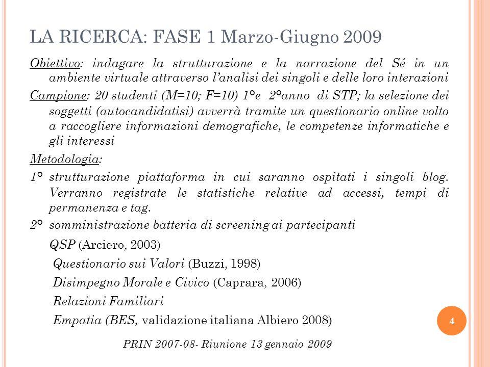 LA RICERCA: FASE 1 Marzo-Giugno 2009 Obiettivo: indagare la strutturazione e la narrazione del Sé in un ambiente virtuale attraverso lanalisi dei sing