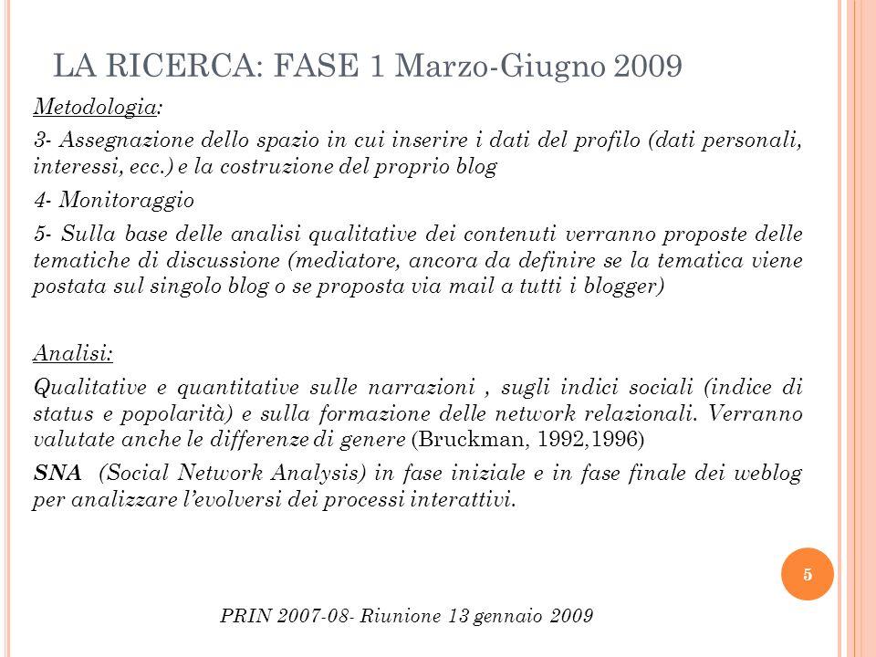 LA RICERCA: FASE 1 Marzo-Giugno 2009 Metodologia: 3- Assegnazione dello spazio in cui inserire i dati del profilo (dati personali, interessi, ecc.) e
