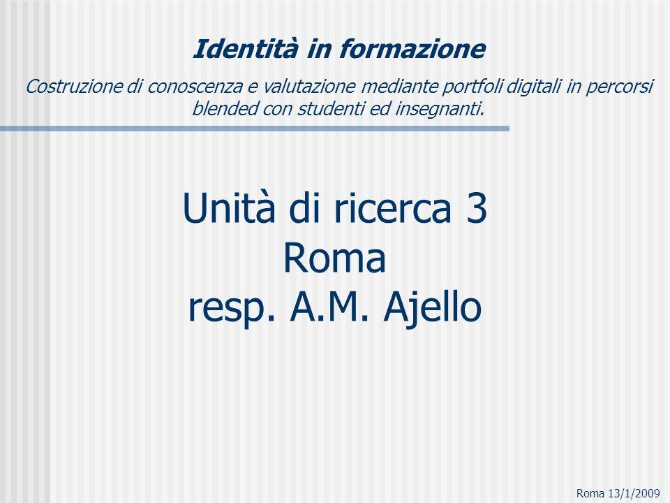 Unità di ricerca 3 Roma resp. A.M. Ajello Identità in formazione Costruzione di conoscenza e valutazione mediante portfoli digitali in percorsi blende