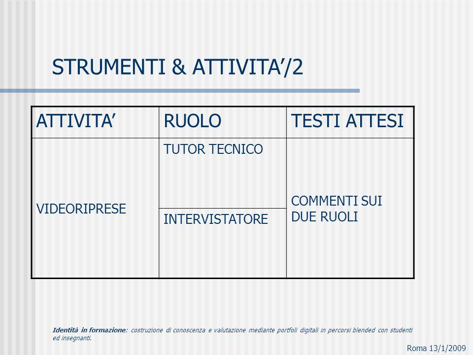 STRUMENTI & ATTIVITA/2 Roma 13/1/2009 ATTIVITARUOLOTESTI ATTESI VIDEORIPRESE TUTOR TECNICO COMMENTI SUI DUE RUOLI INTERVISTATORE Identità in formazione: costruzione di conoscenza e valutazione mediante portfoli digitali in percorsi blended con studenti ed insegnanti.