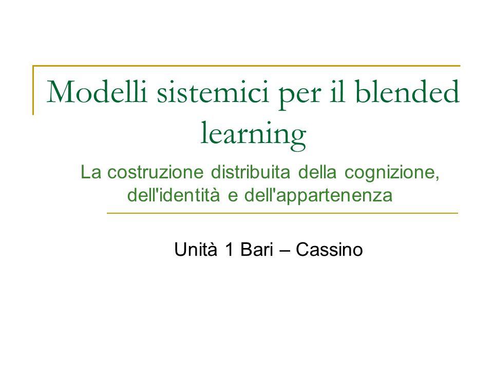 Modelli sistemici per il blended learning La costruzione distribuita della cognizione, dell'identità e dell'appartenenza Unità 1 Bari – Cassino