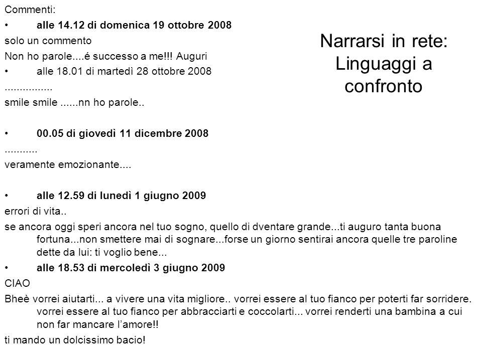 Narrarsi in rete: Linguaggi a confronto Commenti: alle 14.12 di domenica 19 ottobre 2008 solo un commento Non ho parole....é successo a me!!.