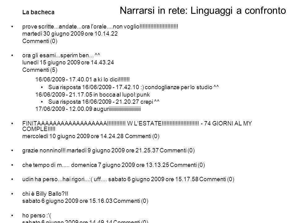 Narrarsi in rete: Linguaggi a confronto Mese di Giugno: 49 post: 753 parole, 1705 token –19 video di cui solo 8 con piccolissimi commenti stra bello sto video :)...