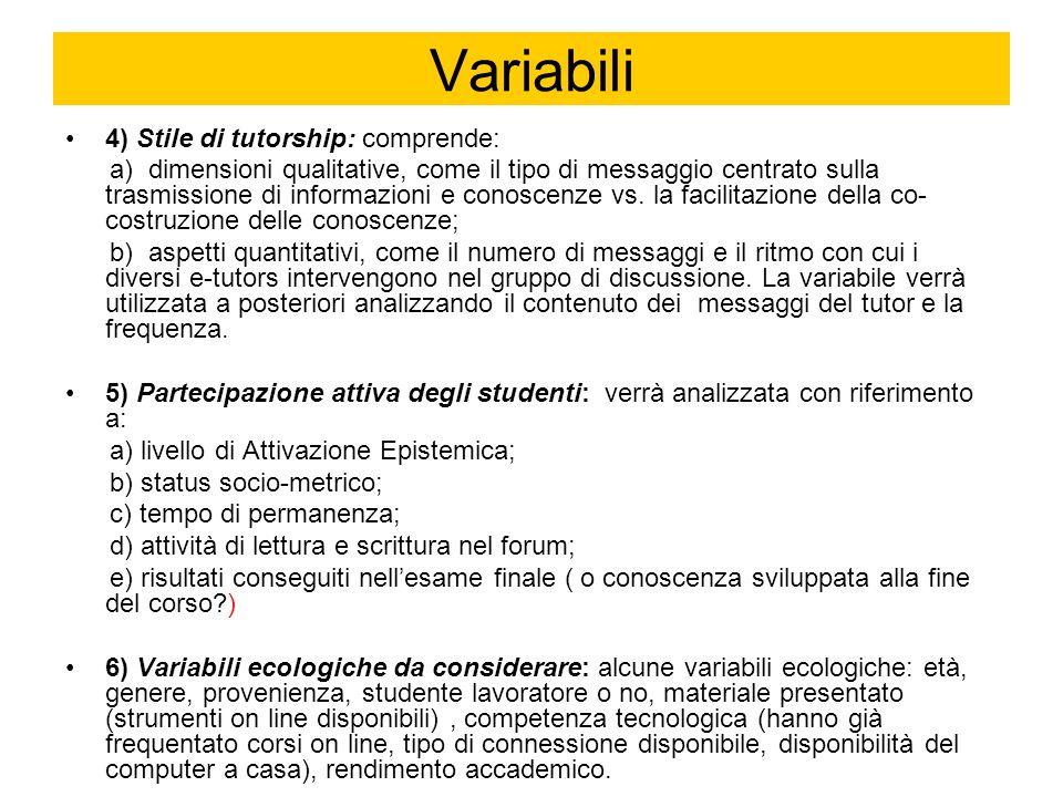 Variabili 4) Stile di tutorship: comprende: a) dimensioni qualitative, come il tipo di messaggio centrato sulla trasmissione di informazioni e conoscenze vs.