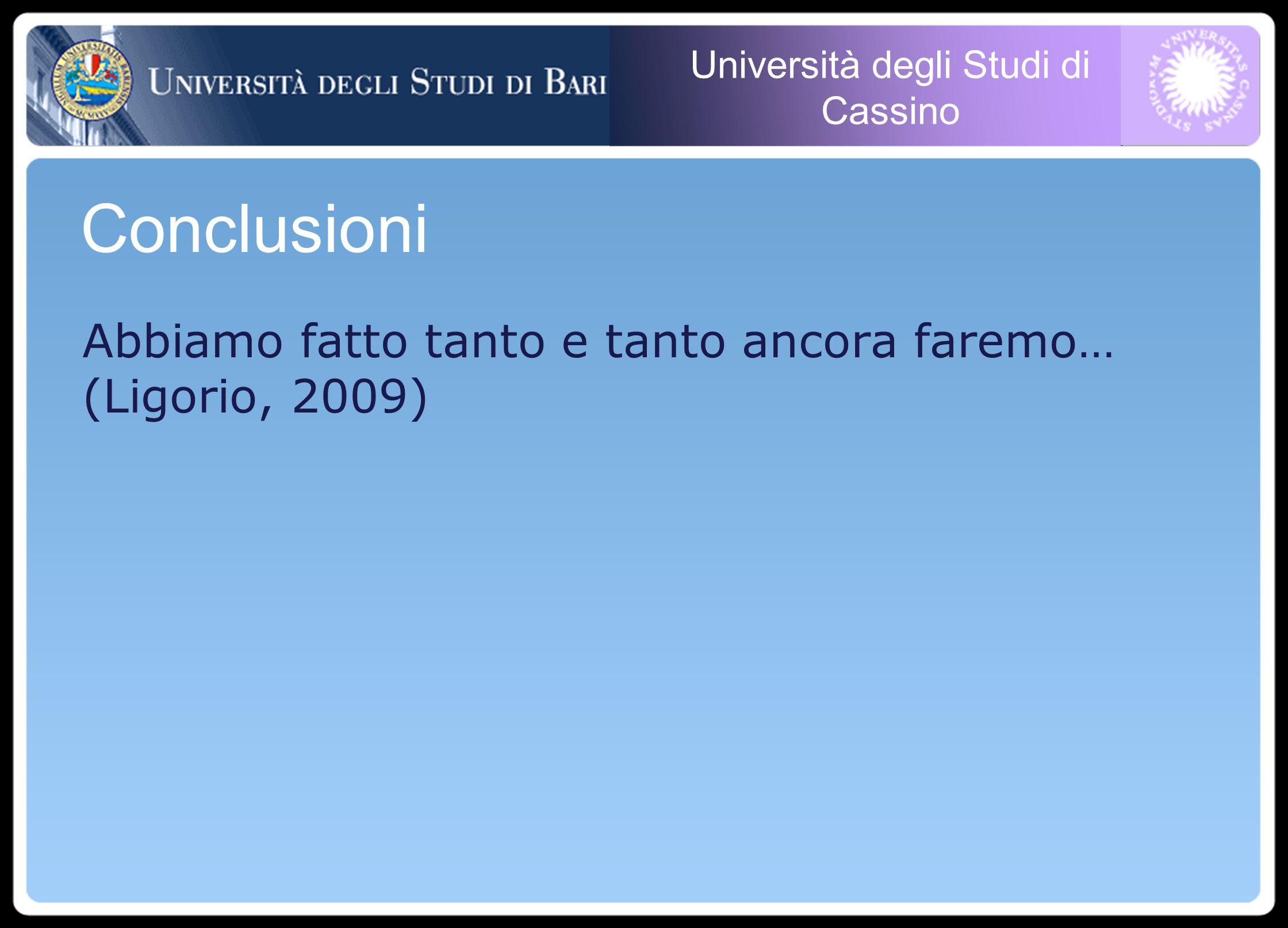 Università degli Studi di Cassino Abbiamo fatto tanto e tanto ancora faremo… (Ligorio, 2009) Conclusioni