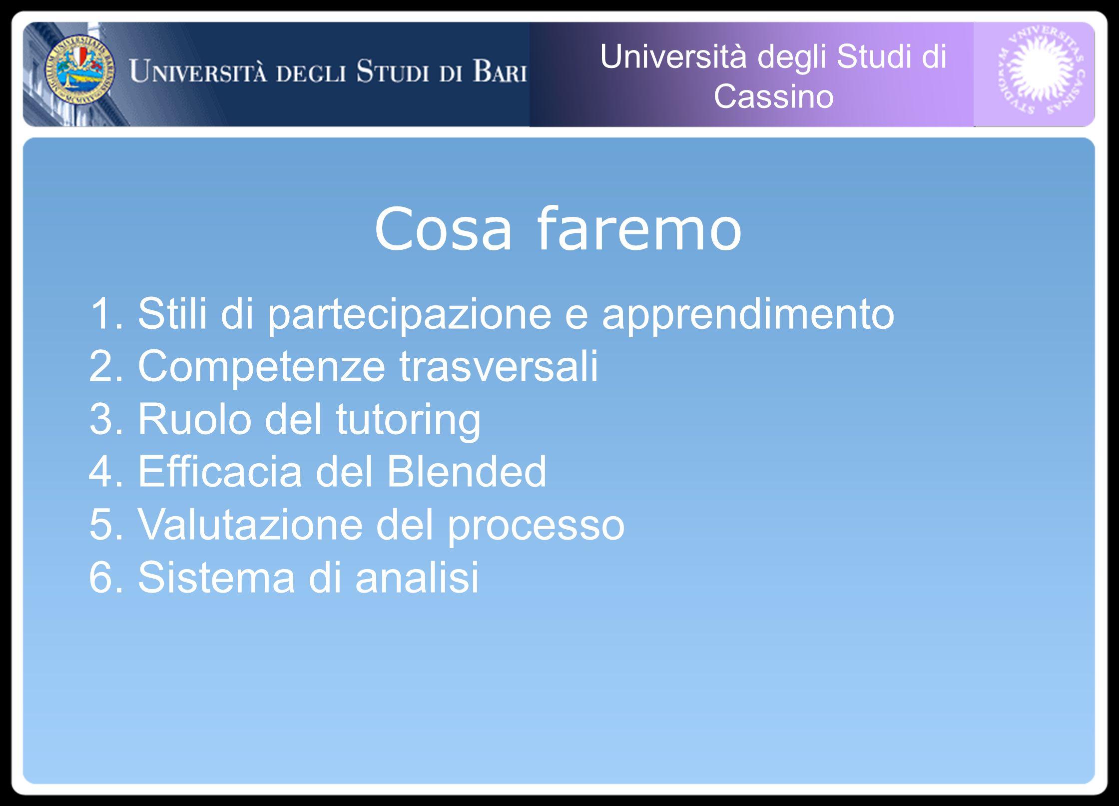 Università degli Studi di Cassino Cosa faremo 1. Stili di partecipazione e apprendimento 2.