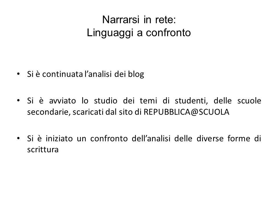 Narrarsi in rete: Linguaggi a confronto Si è continuata lanalisi dei blog Si è avviato lo studio dei temi di studenti, delle scuole secondarie, scaric