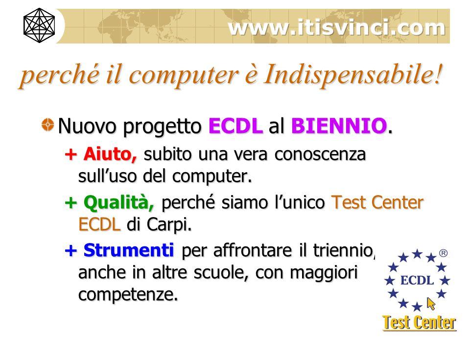 perché il computer è Indispensabile! Nuovo progetto ECDL al BIENNIO. + Aiuto, subito una vera conoscenza sulluso del computer. + Qualità, perché siamo