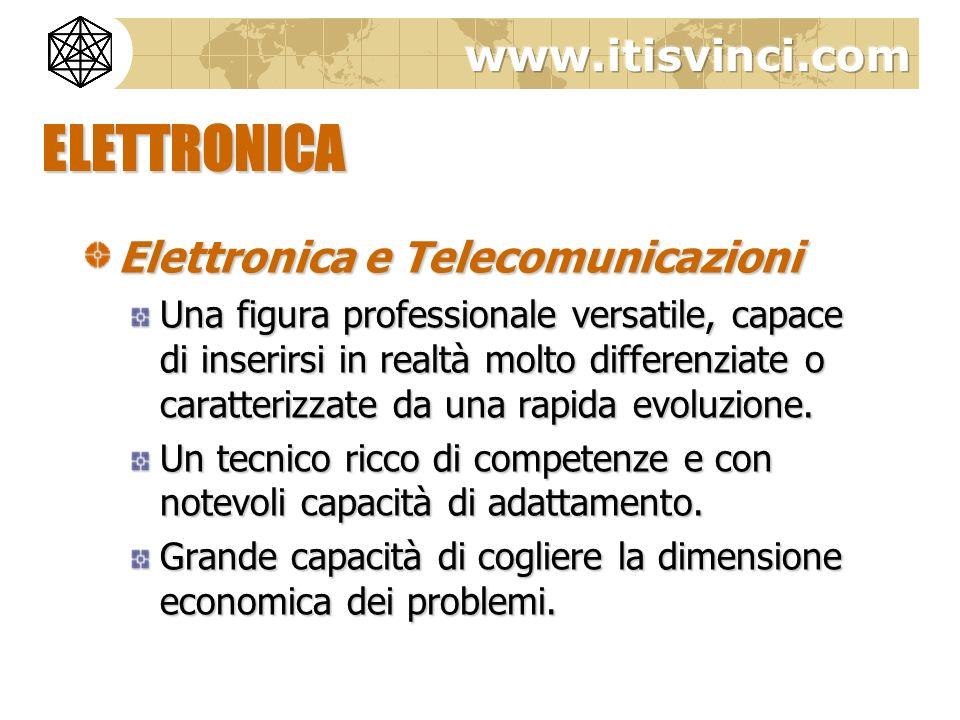 ELETTRONICA Elettronica e Telecomunicazioni Una figura professionale versatile, capace di inserirsi in realtà molto differenziate o caratterizzate da