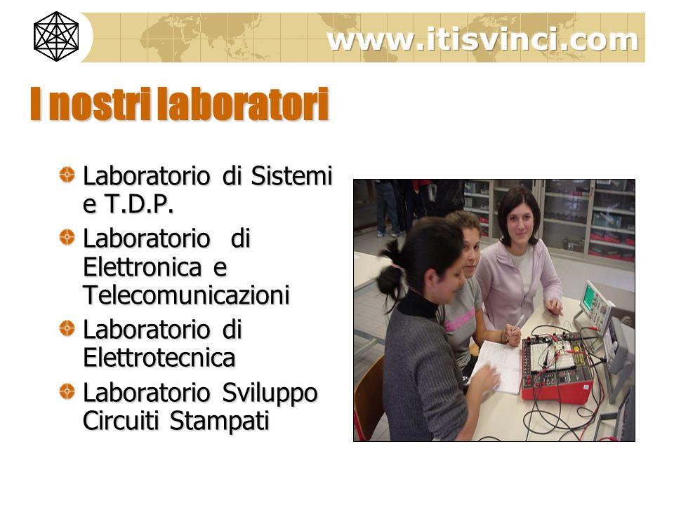 I nostri laboratori Laboratorio di Sistemi e T.D.P. Laboratorio di Elettronica e Telecomunicazioni Laboratorio di Elettrotecnica Laboratorio Sviluppo