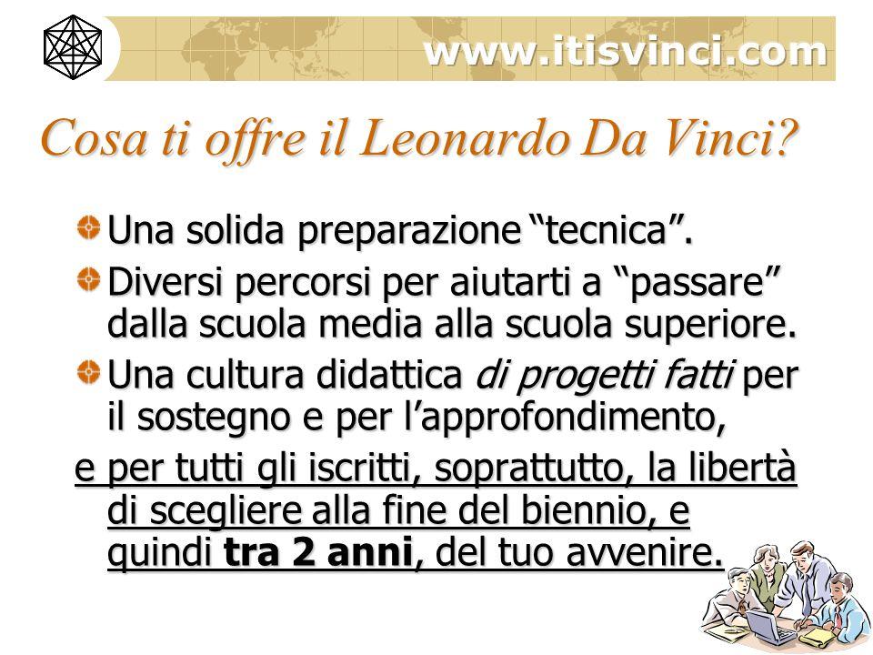Cosa ti offre il Leonardo Da Vinci? Una solida preparazione tecnica. Diversi percorsi per aiutarti a passare dalla scuola media alla scuola superiore.