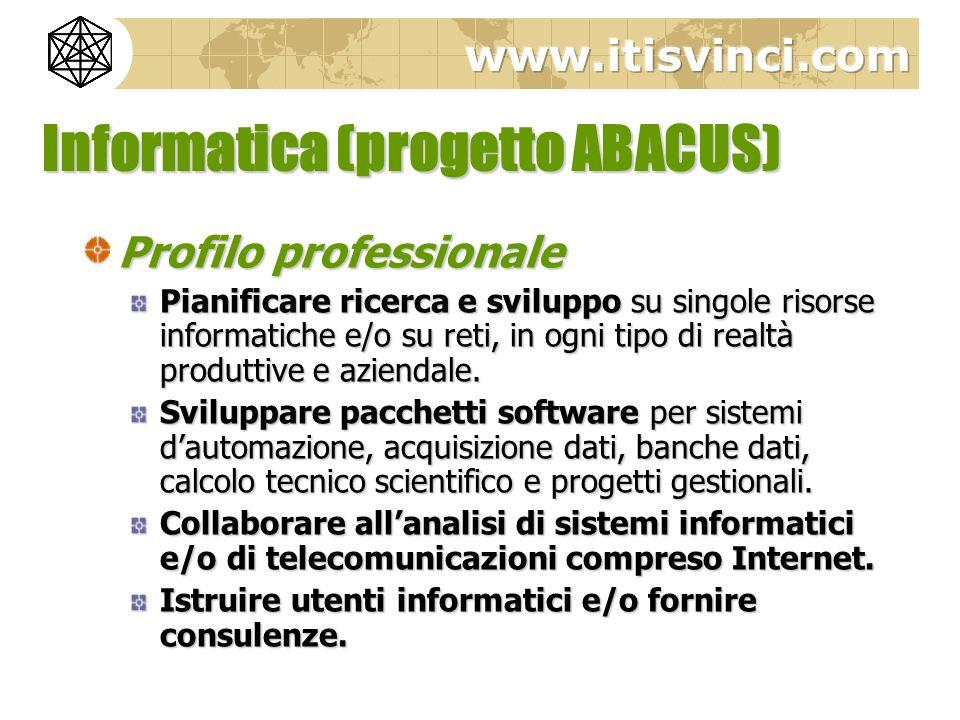 Informatica (progetto ABACUS) Profilo professionale Pianificare ricerca e sviluppo su singole risorse informatiche e/o su reti, in ogni tipo di realtà
