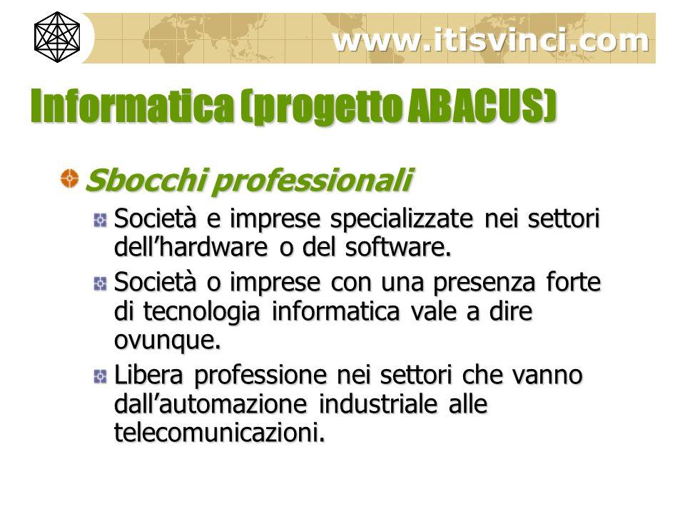 Informatica (progetto ABACUS) Sbocchi professionali Società e imprese specializzate nei settori dellhardware o del software. Società o imprese con una