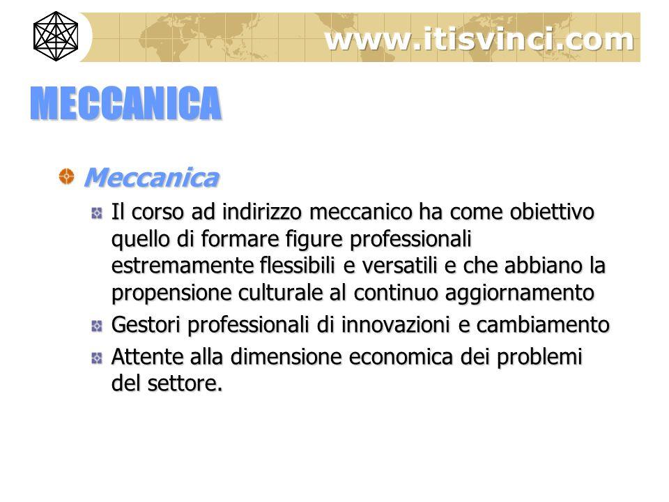 MECCANICA Meccanica Il corso ad indirizzo meccanico ha come obiettivo quello di formare figure professionali estremamente flessibili e versatili e che