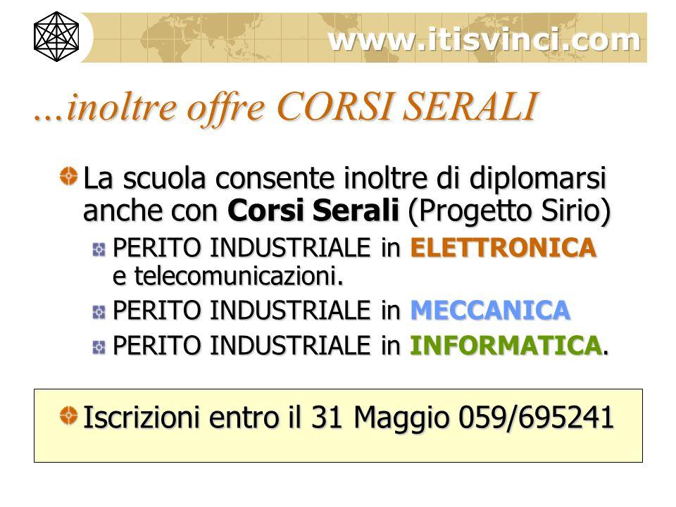 …inoltre offre CORSI SERALI La scuola consente inoltre di diplomarsi anche con Corsi Serali (Progetto Sirio) PERITO INDUSTRIALE in ELETTRONICA e telec