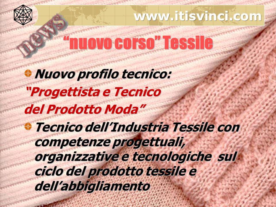 Nuovo profilo tecnico: Progettista e Tecnico del Prodotto Moda Tecnico dellIndustria Tessile con competenze progettuali, organizzative e tecnologiche