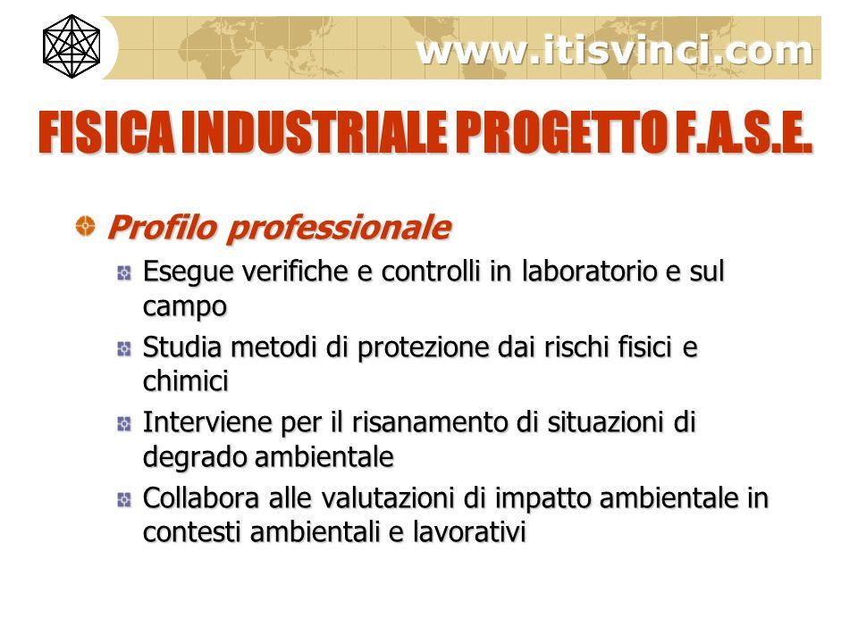 FISICA INDUSTRIALE PROGETTO F.A.S.E. Profilo professionale Esegue verifiche e controlli in laboratorio e sul campo Studia metodi di protezione dai ris