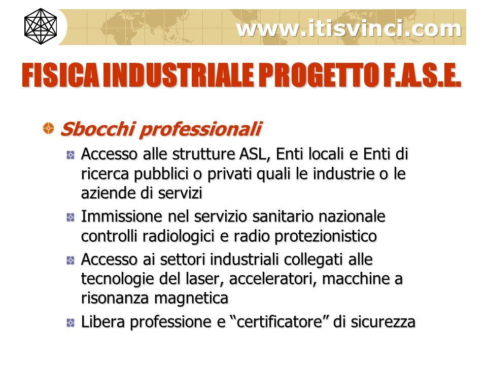 FISICA INDUSTRIALE PROGETTO F.A.S.E. Sbocchi professionali Accesso alle strutture ASL, Enti locali e Enti di ricerca pubblici o privati quali le indus