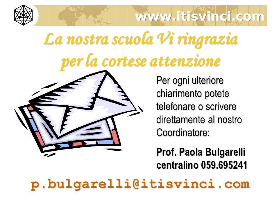 Per ogni ulteriore chiarimento potete telefonare o scrivere direttamente al nostro Coordinatore: Prof. Paola Bulgarelli centralino 059.695241 p.bulgar
