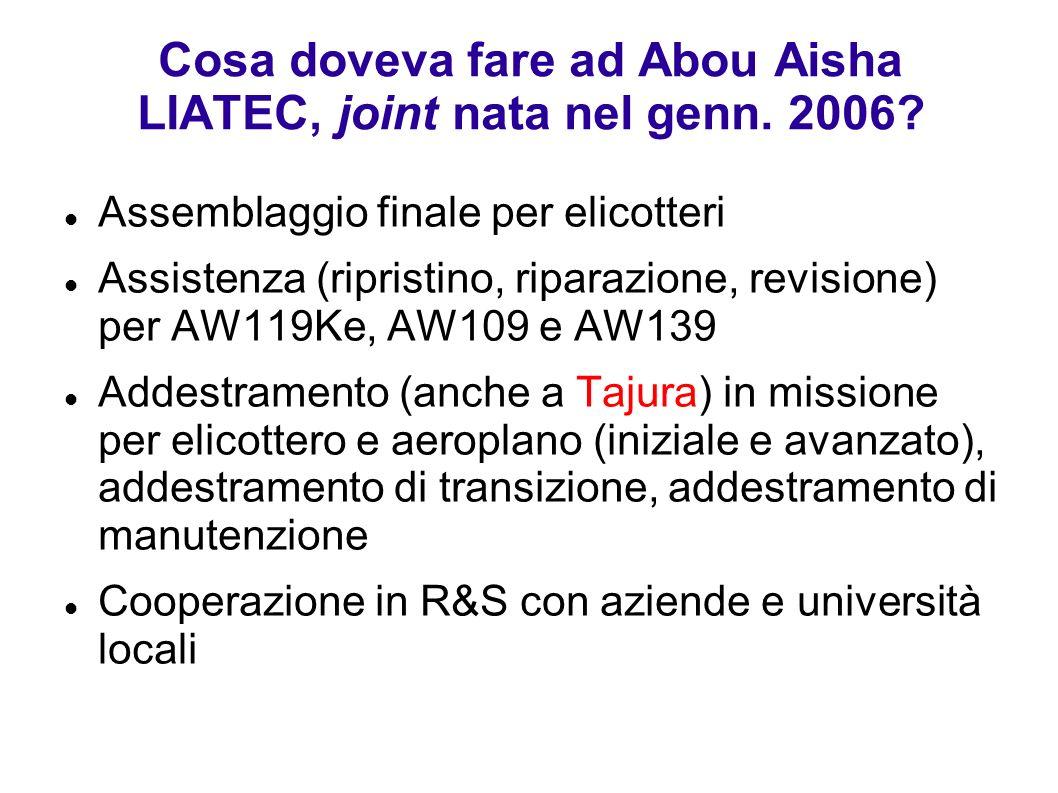 Cosa doveva fare ad Abou Aisha LIATEC, joint nata nel genn. 2006? Assemblaggio finale per elicotteri Assistenza (ripristino, riparazione, revisione) p