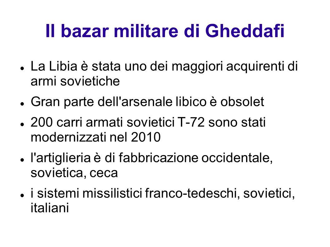 Il bazar militare di Gheddafi La Libia è stata uno dei maggiori acquirenti di armi sovietiche Gran parte dell'arsenale libico è obsolet 200 carri arma