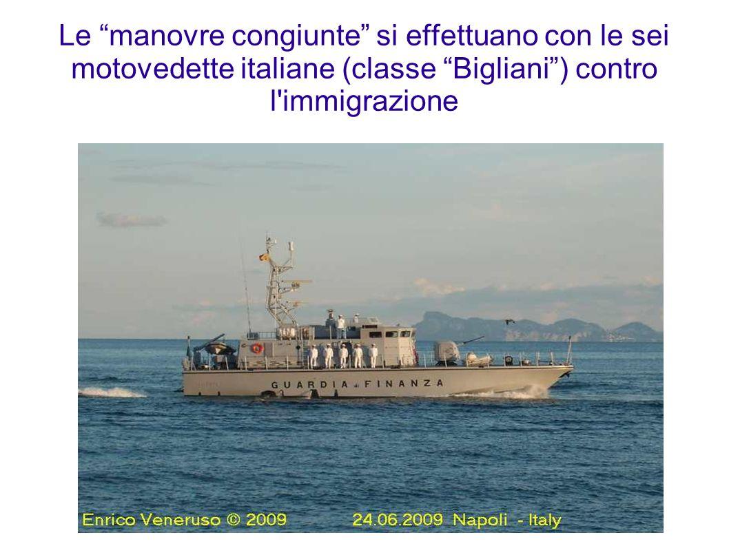 Le manovre congiunte si effettuano con le sei motovedette italiane (classe Bigliani) contro l'immigrazione