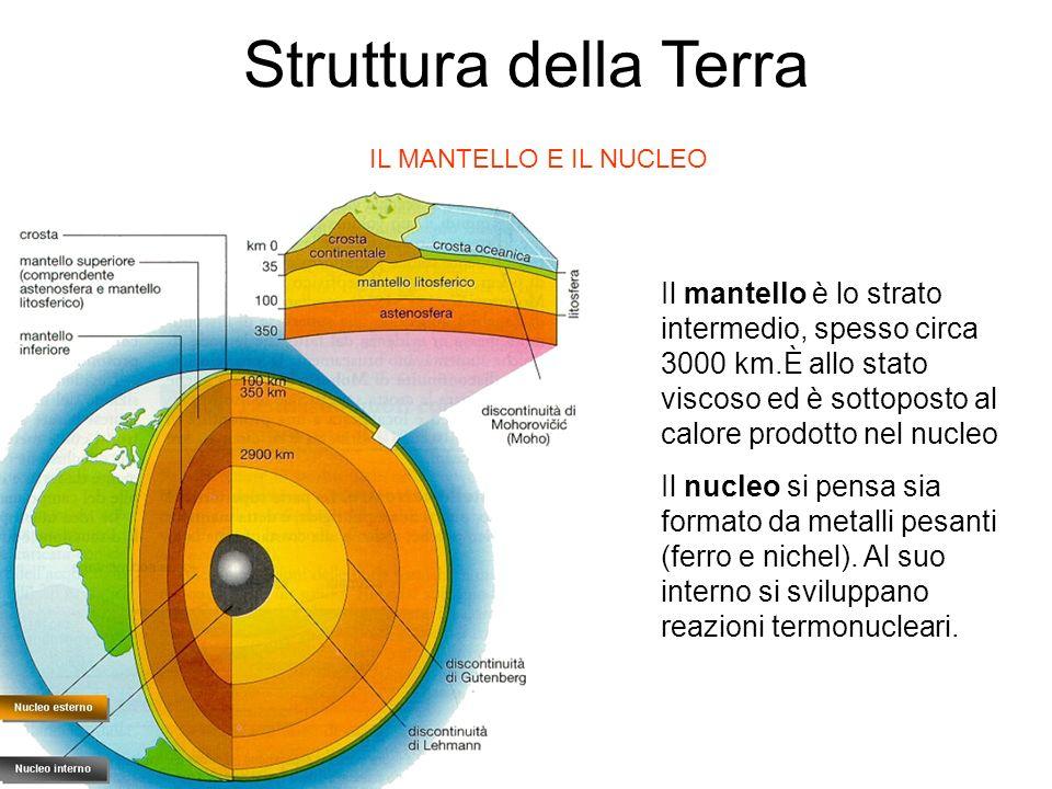 IL MANTELLO E IL NUCLEO Il mantello è lo strato intermedio, spesso circa 3000 km.È allo stato viscoso ed è sottoposto al calore prodotto nel nucleo Il nucleo si pensa sia formato da metalli pesanti (ferro e nichel).