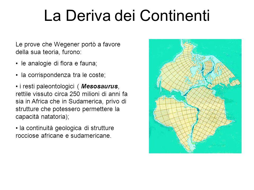 Le prove che Wegener portò a favore della sua teoria, furono: le analogie di flora e fauna; la corrispondenza tra le coste; i resti paleontologici ( Mesosaurus, rettile vissuto circa 250 milioni di anni fa sia in Africa che in Sudamerica, privo di strutture che potessero permettere la capacità natatoria); la continuità geologica di strutture rocciose africane e sudamericane.