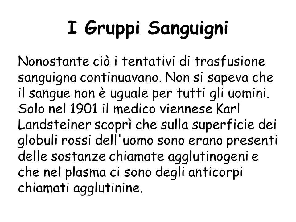 I Gruppi Sanguigni Fin dall'antichità vennero compiuti molti studi sul sangue, anche perché, quando si iniettava il sangue di un individuo sano ad un
