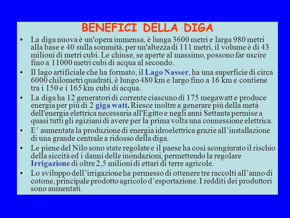 BENEFICI DELLA DIGA La diga nuova è un'opera immensa, è lunga 3600 metri e larga 980 metri alla base e 40 sulla sommità, per un'altezza di 111 metri,