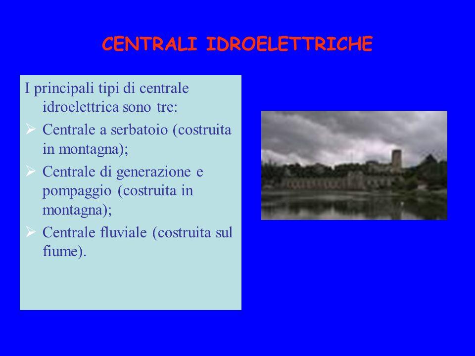 CENTRALI IDROELETTRICHE I principali tipi di centrale idroelettrica sono tre: Centrale a serbatoio (costruita in montagna); Centrale di generazione e