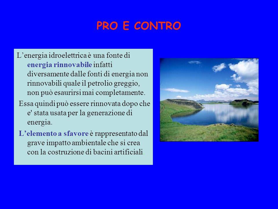 PRO E CONTRO Lenergia idroelettrica è una fonte di energia rinnovabile infatti diversamente dalle fonti di energia non rinnovabili quale il petrolio g