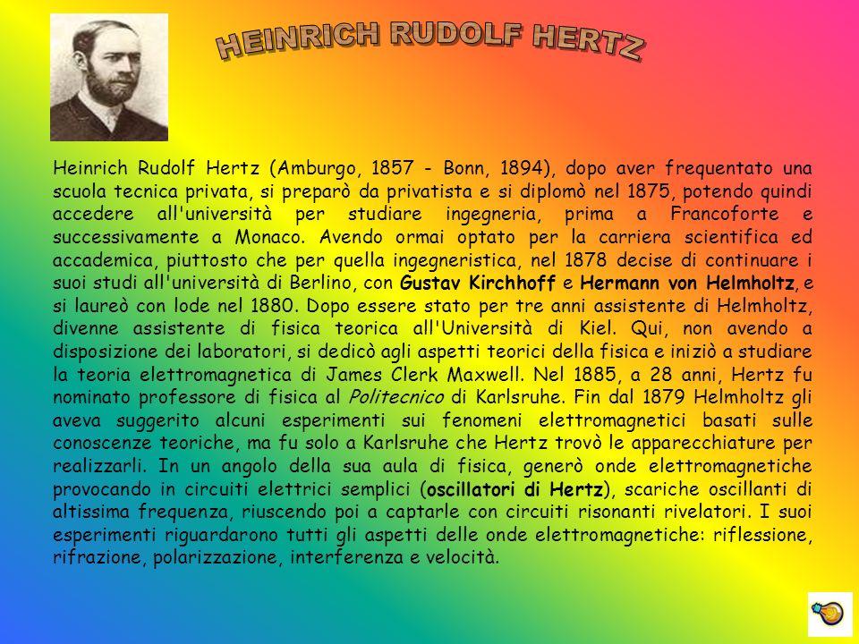 Heinrich Rudolf Hertz (Amburgo, 1857 - Bonn, 1894), dopo aver frequentato una scuola tecnica privata, si preparò da privatista e si diplomò nel 1875, potendo quindi accedere all università per studiare ingegneria, prima a Francoforte e successivamente a Monaco.